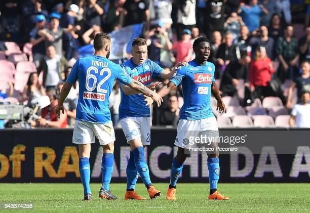 Lorenzo Tonelli Piotr Zielinski and Amadou Diawara of SSC Napoli celebrate the 21 goal scored by Amadou Diawara during the serie A match between SSC...