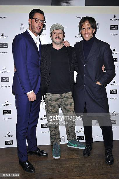 Lorenzo Tonetti Alan Gelati and Davide Oldani attend 'The Faces' Opening Exhibition on February 17 2014 in Milan Italy