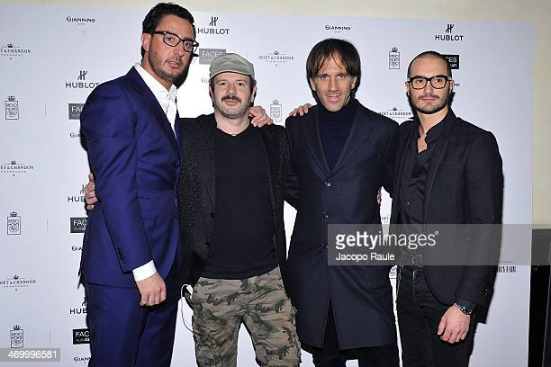 Lorenzo Tonetti Alan Gelati Davide Oldani and Alessandro Pera attend 'The Faces' Opening Exhibition on February 17 2014 in Milan Italy