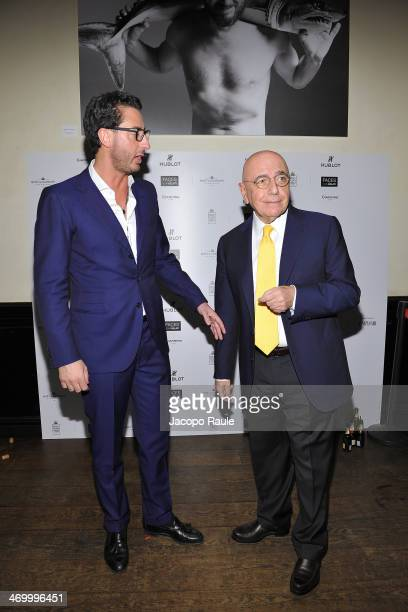 Lorenzo Tonetti and Adriano Galliani attend 'The Faces' Opening Exhibition on February 17 2014 in Milan Italy