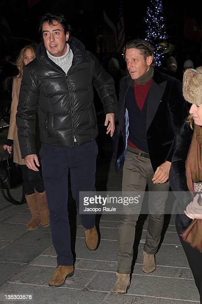 Lorenzo Tonetti and Lapo Elkann attend Italia Independent Flagship Store Opening on December 8 2011 in Courmayeur Italy