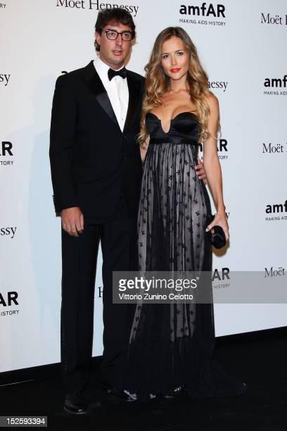 Lorenzo Tonetti and Natalia Borges attend amfAR Milano 2012 during Milan Fashion Week at La Permanente on September 22 2012 in Milan Italy