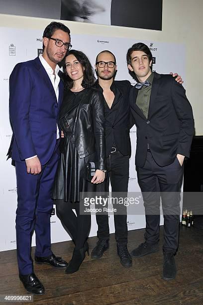 Lorenzo Tonetti Eleonora Pera Alessandro Pera and Nicolo Meroni attend 'The Faces' Opening Exhibition on February 17 2014 in Milan Italy