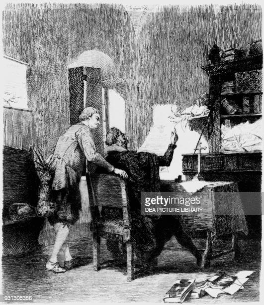 Lorenzo Tramaglino and Dr Azzeccagarbugli illustration for The Betrothed historical novel by Alessandro Manzoni engraving