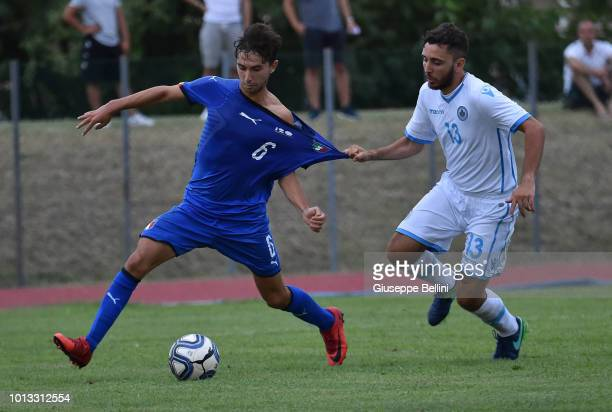 Lorenzo Valeau of Italy U20 and Alex Della Valle of San Marino U20 in action during the International Friendly match between Italy U20 and San Marino...