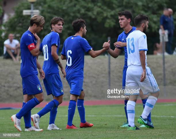 Lorenzo Valeau of Italy U20 celebrates after scoring a goal to make it 40 during the International Friendly match between Italy U20 and San Marino...