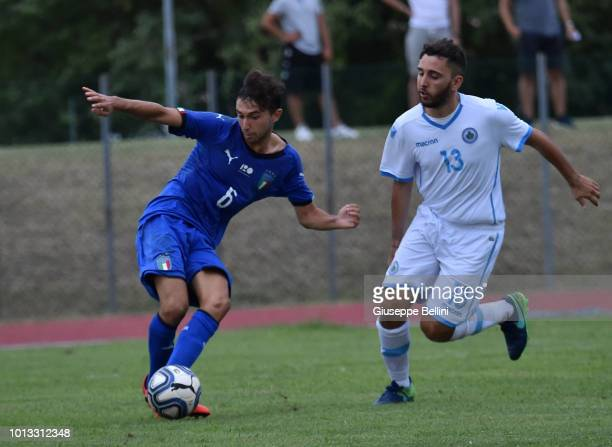 Lorenzo Valeau of Italy U20 scores a goal to make it 40 during the International Friendly match between Italy U20 and San Marino U20 on August 8 2018...