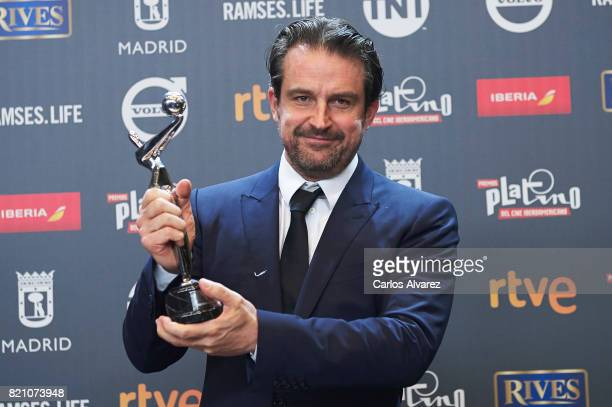Lorenzo Vigas receives the 'Best Opera Prima' award for the movie 'Desde Alla' during the 'Platino Awards 2017' at La Caja Magica on July 22 2017 in...