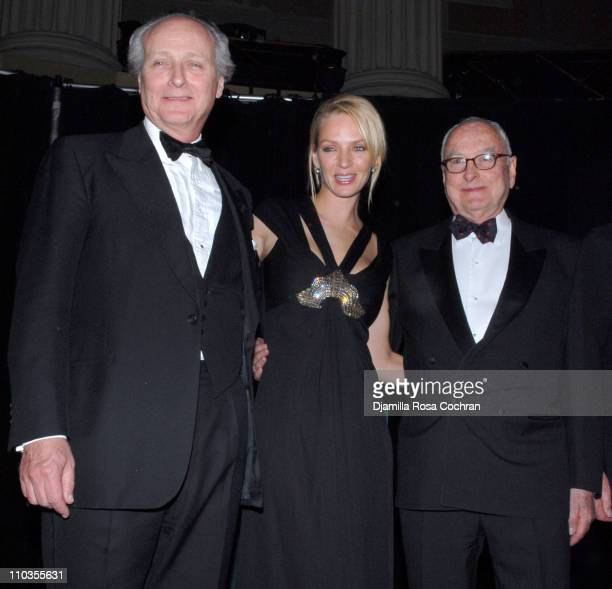 Lorenzo Weisman Uma Thurman and James Ivory attend The 2007 Trophee des Arts Gala at Gotham Hall on November 27 2007 in New York City New York