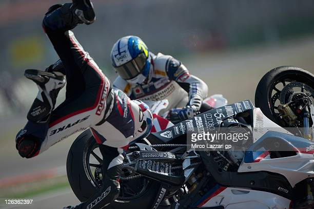 Lorenzo Zanetti of Italy and BMW Motorrad Italia Superstock crashes out during the race of Superstock FIM CUP 1000 Championship Round Ten at...