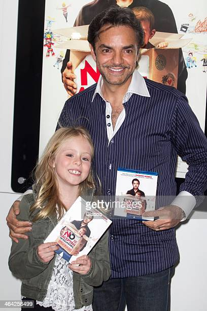 Loreto Peralta and director and actor Eugenio Derbez pose for a photo during the presentation of the DVD and BlueRay of the movie No Se Aceptan...