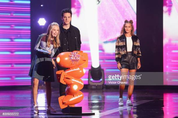 Loreto Peralta and guest speak onstage during the Nickelodeon Kids' Choice Awards Mexico 2017 at Auditorio Nacional on August 19 2017 in Mexico City...