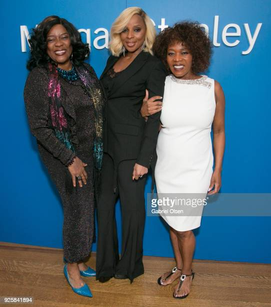 Loretta Devine, Mary J. Blidge and Alfre Woodard attend Alfre Woodard and Morgan Stanley Present the 9th Annual Oscar's Sistahs Soiree on February...