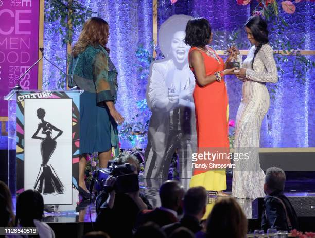 Loretta Devine Sheryl Lee Ralph and Charmaine Lewis speak onstage during the 2019 Essence Black Women in Hollywood Awards Luncheon at Regent Beverly...