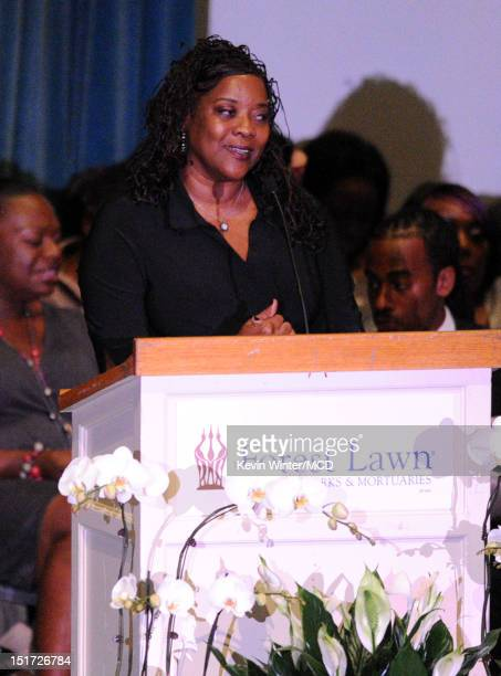 Loretta Devine speaks onstage during Michael Clarke Duncan's Memorial Service at Forest Lawn Cemetery on September 10, 2012 in Los Angeles,...
