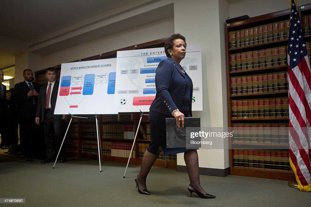 Loretta Lynch, U.S. attorney general, arrives for a news conference in the Brooklyn borough of New York, U.S., on Wednesday, May 27, 2015. The future of the World Cup has been called into question and soccer's governing body plunged into crisis after U.S. prosecutors charged nine officials with corruption and Switzerland probed upcoming tournaments awarded to Russia and Qatar. Photographer: Victor J. Blue/Bloomberg via Getty Images