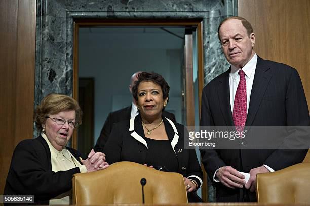 Loretta Lynch US attorney general center Senator Barbara Mikulski a Democrat from Maryland left and Senator Richard Shelby a Republican from Alabama...
