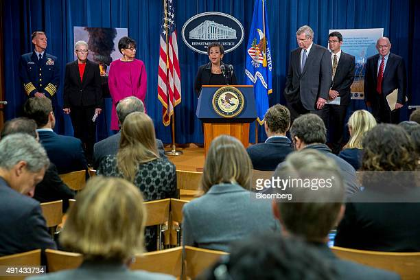 Loretta Lynch US attorney general center speaks during a news conference on the resolution of federal and state claims against BP for the April 2010...