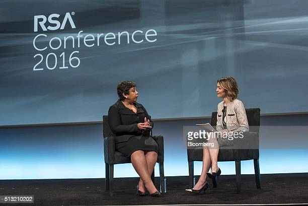 Loretta Lynch US attorney general left speaks as Bloomberg West anchor Emily Chang listens during a keynote session at the RSA Conference 2016 in San...