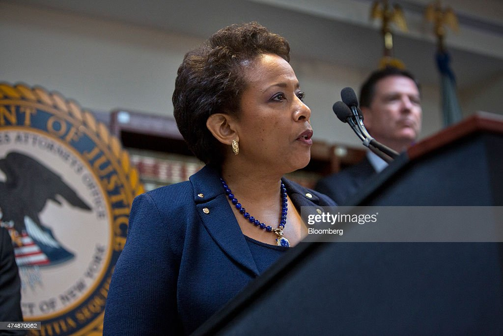 Loretta Lynch, U.S. attorney general, speaks during a news conference in the Brooklyn borough of New York, U.S., on Wednesday, May 27, 2015. The future of the World Cup has been called into question and soccer's governing body plunged into crisis after U.S. prosecutors charged nine officials with corruption and Switzerland probed upcoming tournaments awarded to Russia and Qatar. Photographer: Victor J. Blue/Bloomberg via Getty Images