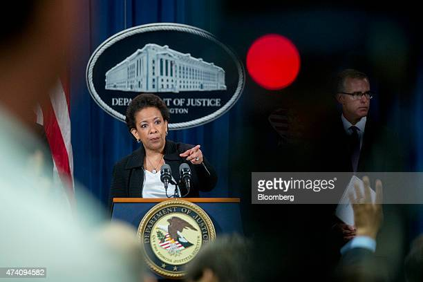 Loretta Lynch US attorney general takes a question during a news conference on financial institutions longrunning manipulation of the Foreign...
