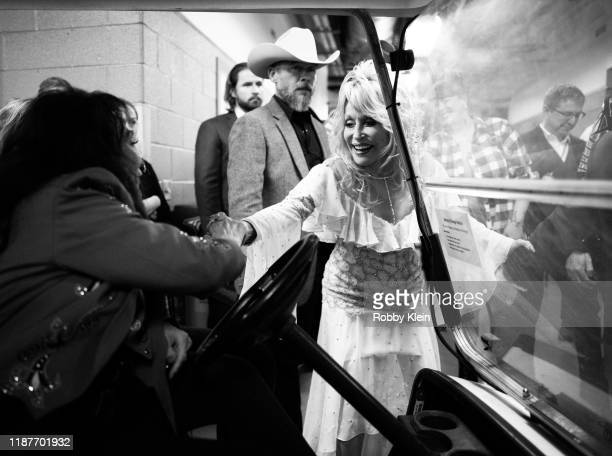 Loretta Lynn and Dolly Parton backstage at the 53rd annual CMA Awards at Bridgestone Arena on November 13 2019 in Nashville Tennessee
