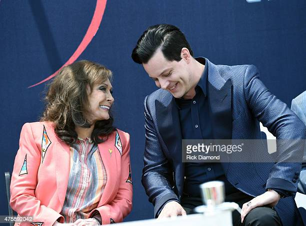 Loretta Lynn and Jack White Inducted Into The Nashville Walk Of Fame on June 4 2015 in Nashville Tennessee