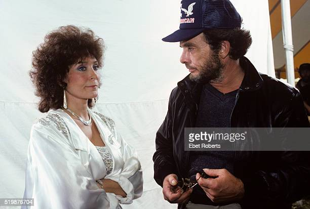 Loretta Lynn and Merle Haggard backstage at Farm Aid in Champaigne Illinois on September 22 1985