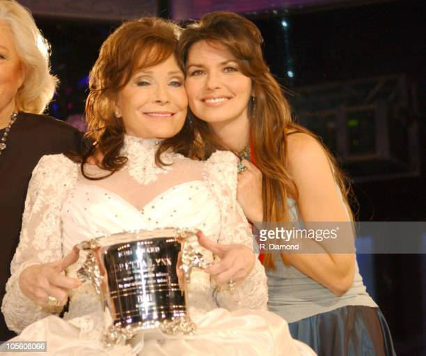Loretta Lynn and Shania Twain during 52nd Annual BMI Country Awards - Show at BMI in Nashville, Tennessee, United States.