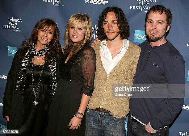Loretta Munoz of ASCAP, musician Jessie Baylin, musician Jack Savoretti and Tom Desavia of ASCAP pose at the Tribeca ASCAP Music Lounge held at the...