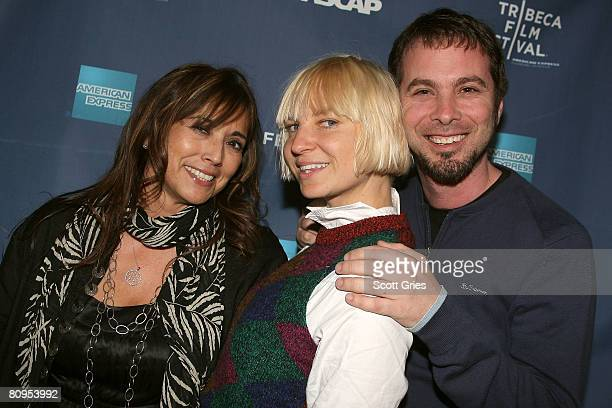 Loretta Munoz of ASCAP, musician Sia and Tom Desavia of ASCAP pose at the Tribeca ASCAP Music Lounge held at the Canal Room during the 2008 Tribeca...