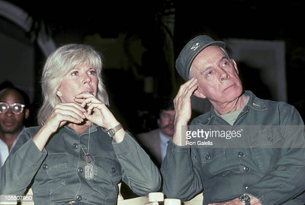 Loretta Swit and Harry Morgan during Press Conference for the Final Taping of M*A*S*H* January 14 1983 at 20th Century Fox Studios in Los Angeles...