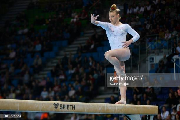 Lorette Charpy from France seen in action during the Apparatus Finals of 8th European Championships in Artistic Gymnastics