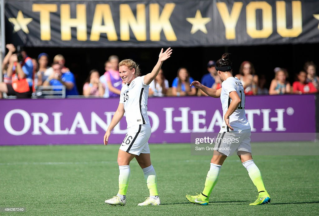 Lori Chalupny #16 of the United States acknowledges the crowd during a Women's International Friendly soccer match between Brazil and the United States at Orlando Citrus Bowl on October 25, 2015 in Orlando, Florida.