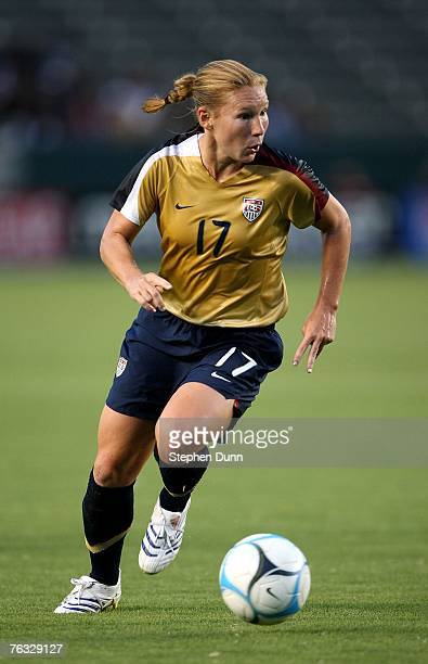 Lori Chalupny of the US Women's National Team plays the ball against Finland in an international friendly on August 25, 2007 at the Home Depot Center...