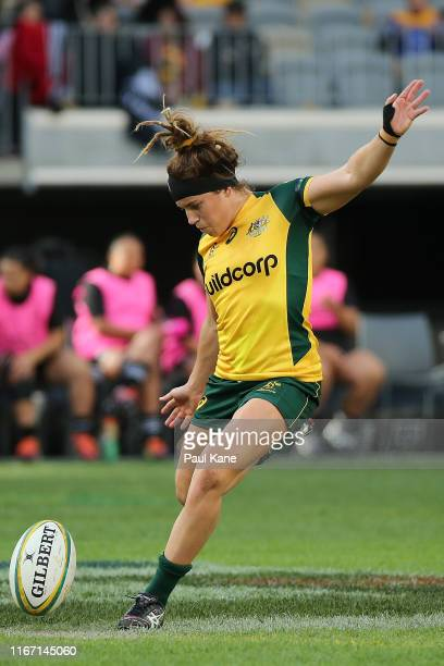 Lori Cramer of Australia in action during the Women's Test Match between the Australian Wallaroos and the New Zealand Black Ferns at Optus Stadium on...