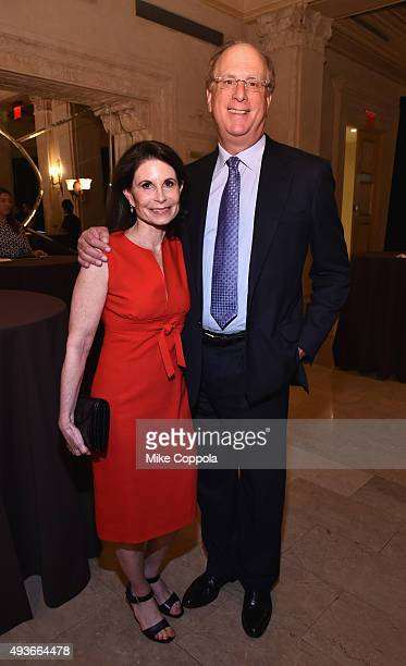 Lori Fink and Laurence D Fink attend NYU Langone Medical Center's Perlmutter Cancer Center Gala at The Plaza Hotel on October 21 2015 in New York City