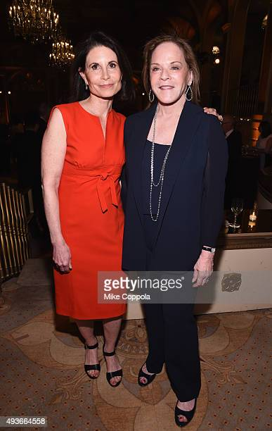 Lori Fink and Laurie Perlmutter attend NYU Langone Medical Center's Perlmutter Cancer Center Gala at The Plaza Hotel on October 21 2015 in New York...
