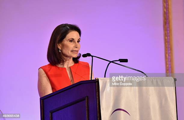 Lori Fink speaks on stage at NYU Langone Medical Center's Perlmutter Cancer Center Gala at The Plaza Hotel on October 21 2015 in New York City