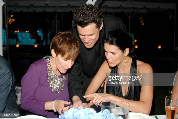 Lori Goldstein Isaac Mizrahi and Angie Harmon attend QVC Style Dinner at Private Residence on July 31 2009 in East Hampton New York