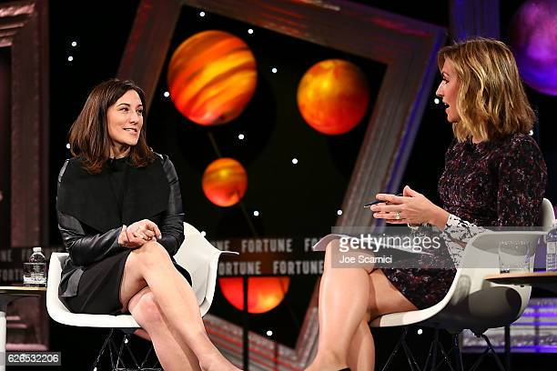 Lori Goler and Poppy Harlow speak onstage during the One on One My Career Adventures panel at Fortune MPW Next Gen 2016 on November 29 2016 in Dana...