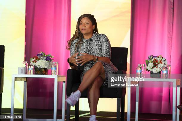 Lori Hall speaks onstage at WICT Leadership Conference And Touchstones Luncheon at The New York Marriott Marquis on September 16 2019 in New York City