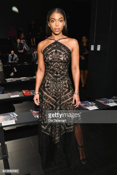 Lori Harvey attends the Tadashi Shoji fashion show during New York Fashion Week The Shows at Gallery 1 Skylight Clarkson Sq on September 7 2017 in...