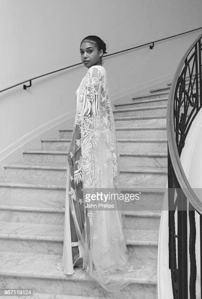 CANNES FRANCE MAY 10 Lori Harvey departs the Martinez Hotel with L'Oreal Paris on May 10 2018 in Cannes France