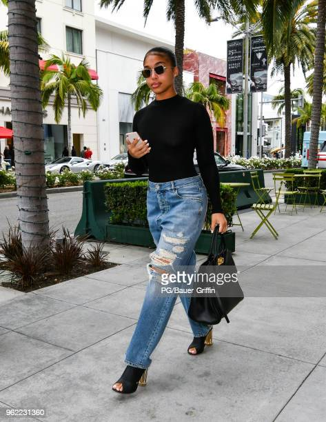 Lori Harvey is seen at the Salvatore Ferragamo store on Rodeo Drive. On May 24, 2018 in Los Angeles, California.