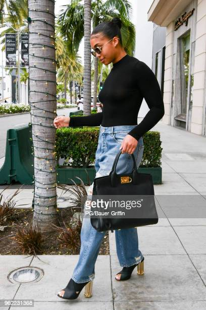 Lori Harvey is seen at the Salvatore Ferragamo store on Rodeo Drive on May 24 2018 in Los Angeles California