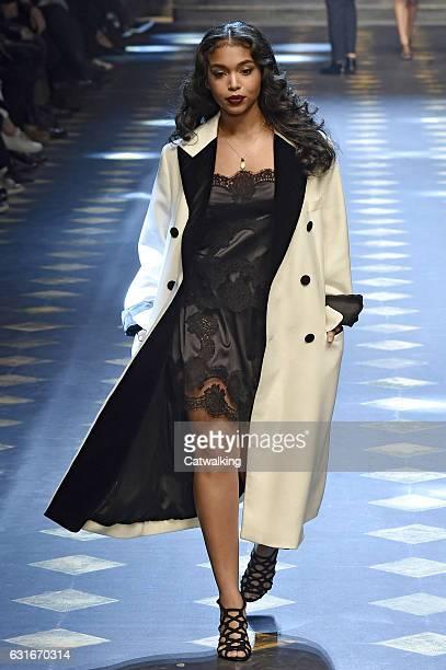 Lori Harvey walks the runway at the Dolce Gabbana Autumn Winter 2017 fashion show during Milan Menswear Fashion Week on January 14 2017 in Milan Italy