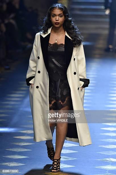Lori Harvey walks the runway at the Dolce Gabbana show during Milan Men's Fashion Week Fall/Winter 2017/18 on January 14 2017 in Milan Italy