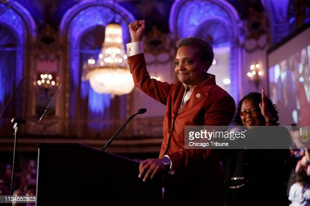 Lori Lightfoot appears at an election night party at the the Hilton Chicago hotel on Tuesday April 2 in Chicago