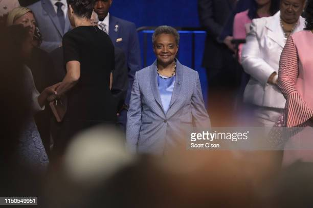 Lori Lightfoot arrives for her inauguration ceremony at the Wintrust Arena on May 20 2019 in Chicago Illinois Lightfoot become the first black female...